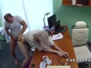 Hot blonde in high heels bangs in hospital