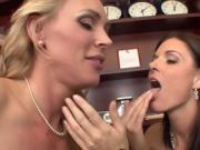 Blonde And Brunette Women Eat Each Other Out In 3some