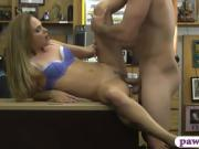 Amateur blonde babe with glasses fucked by pawn guy