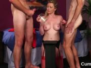Hot peach gets jizz load on her face gulping all the love jui