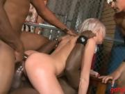 Tight big boobs babe dped by black dudes on the couch
