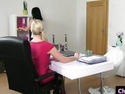 Blonde casting agent seduces office cleaner into masturbating