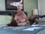 Bald guy with big cock bangs a sweet brunette MILF