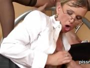 Astonished idol in undies is geeting peed on and penetrated