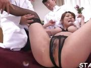 Wet cunnilingus for sexy Asian darling in stockings