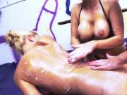 Blondes with big tits spray whipped cream on each other
