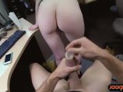 Hot blonde babe gives head and gets railed by pawn dude