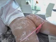 Curvy babe covered in flour and fucked