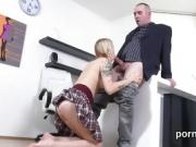 Fervent schoolgirl was teased and plowed by her older teacher