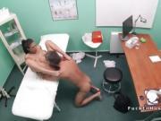 Petite babe sucks doctors dick in bathroom