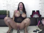 Horny brunette milf play with toy