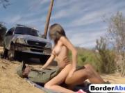 Amazing teen babe fucked on the border