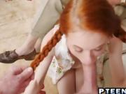 Redhead teen with pigtails blows old guy huge cock
