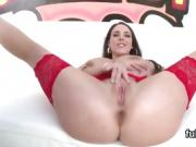 Adorable stunner flashes enormous ass and gets anal rode