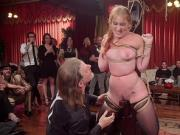 Slaves in partial suspensions fucked at party