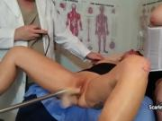 Horny MILF squirts everywhere during her pussy examination