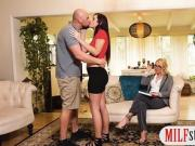 Stepmom teaches couple to suck and fuck