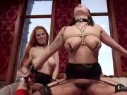 Master fucks busty slaves in upper floor