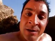 Petite brunette has sex with caveman