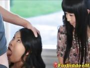 Asian Milf Mom Watches Kindly Daughter Sucking Off House Gues