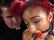 Ebony in brutal device bondage tormented
