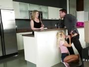 Blonde sitter and wife banging husband