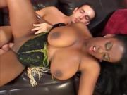 Curvy ebony chick with huge tits slobbers on his cock