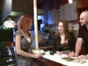 Two tight brunette women blowjob and pounded in the bar
