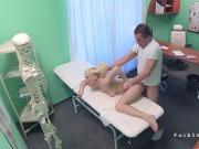 Blonde gets doctors cum in mouth pov