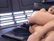 Hot busty babe takes anal fucking machine