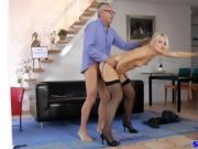 Classy european beauty fucks geriatric and fingers her pussy