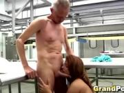 Grandpa talks young brunette into sucking him off