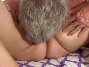 Older masseur pleases a busty BBW on the massage table