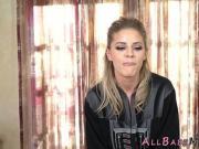 Masseuse lesbian eats out blindfolded babe
