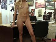 Slutty blonde babe earns money by fucking Shawns cock