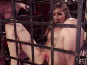 Gagged slave deep throated in threesome