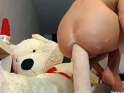 Pretty Hot Blonde Tramp Fucks Her Tight Ass With Didlo