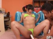 Two stud and one Asian slut suck scene, deepthroat action