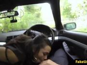 Pickedup black busty latina blows officer cock POV in carsex