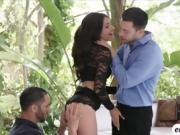 Naughty Adria Rae enjoys sucking and fucking two cocks