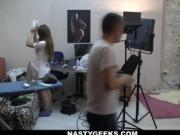 Porn backstage routine by NastyGeeks