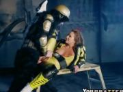 After kicking Yellow Ranger treats massive cock