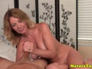 Mature cougar jerking pov cock on bed and loves it
