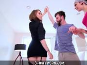 3-Way Porn - Threesome for Newbie Actor with Hot Blonde & Pet