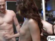 Two tight brunette babes fucked by bald dude for money