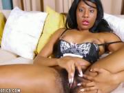 Smokin Hot Ebony Giives Her Snatch Some Solo Lovin