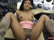 Ebony babe pounded by pawn keeper in the back office