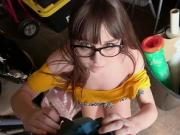 Hot brunette Shae rides dick for money