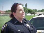 Busty cops riding long black schlong outdoors