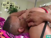 Sexy blonde fucks her man's asshole